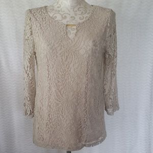 Dressy tan colored lace top